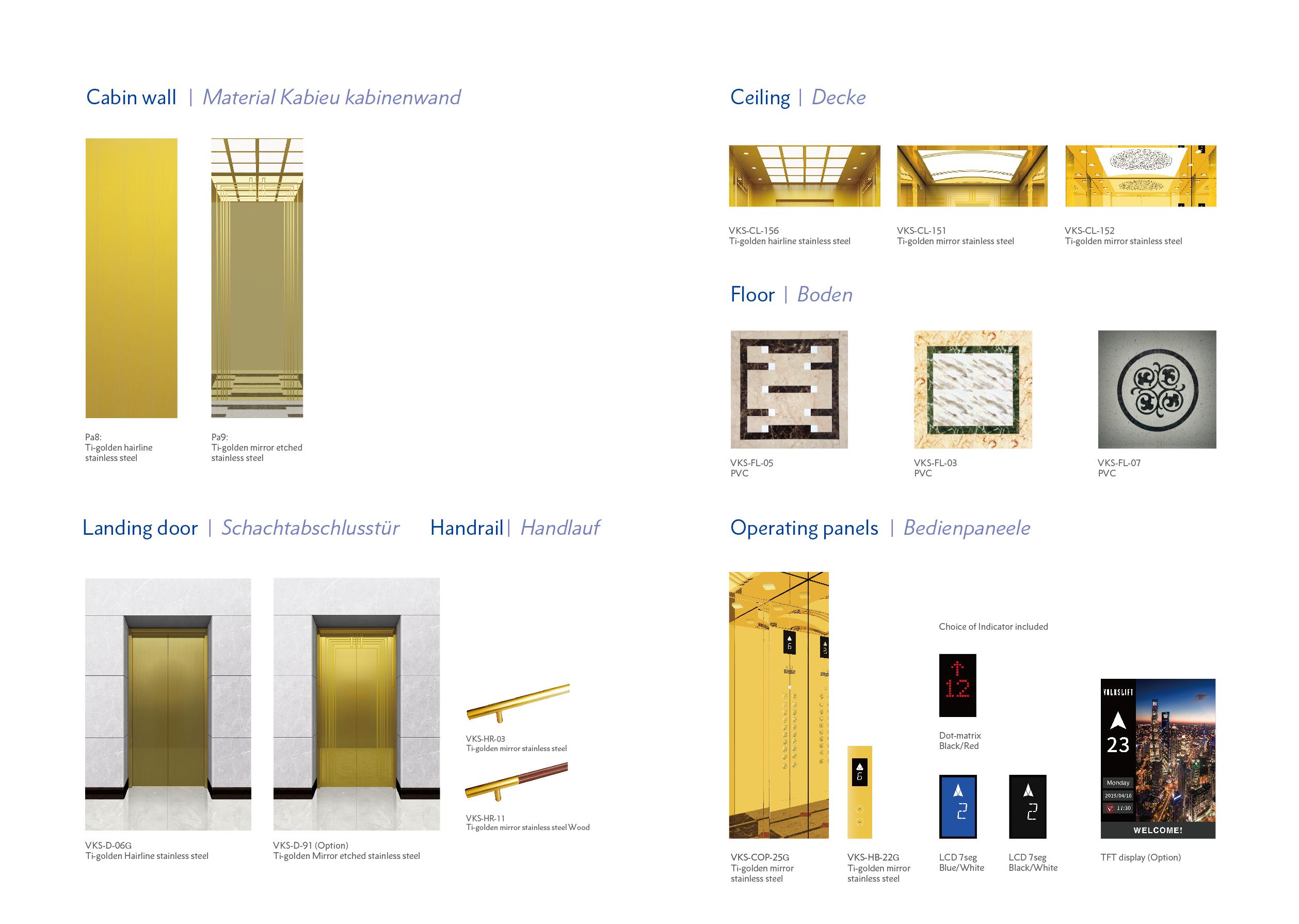Golden Mirror Elevator Design - Oryx Elevators